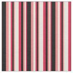 [ Thumbnail: Crimson, Beige, Light Coral & Black Colored Lines Fabric ]