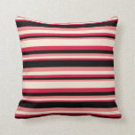 [ Thumbnail: Crimson, Beige, Light Coral & Black Colored Lines Throw Pillow ]