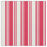 [ Thumbnail: Crimson & Beige Pattern of Stripes Fabric ]
