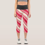 [ Thumbnail: Crimson & Beige Pattern of Stripes Leggings ]