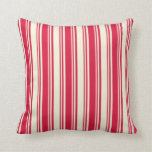 [ Thumbnail: Crimson & Beige Pattern of Stripes Throw Pillow ]
