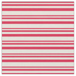[ Thumbnail: Crimson & Beige Striped/Lined Pattern Fabric ]