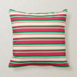 [ Thumbnail: Crimson, Beige, Turquoise, and Dark Green Colored Throw Pillow ]
