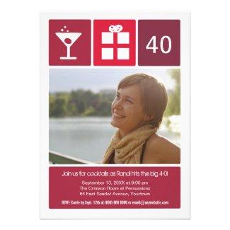 Crimson Birthday Icon Grid Photo Personalized Invite