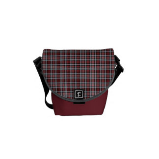 Crimson, Black and Grey Sporty Plaid Courier Bags