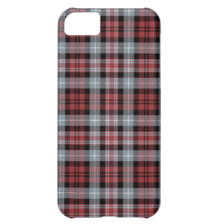 Crimson, Black and Grey Sporty Plaid Pattern Case For iPhone 5C