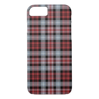 Crimson, Black and Grey Sporty Plaid Pattern iPhone 8/7 Case