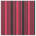 [ Thumbnail: Crimson & Black Colored Lines/Stripes Pattern Fabric ]
