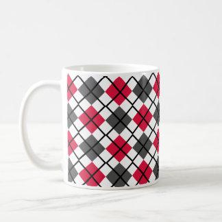 Crimson, Black, Grey on White Argyle Print Mug