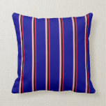 [ Thumbnail: Crimson, Black, Light Pink & Dark Blue Colored Throw Pillow ]
