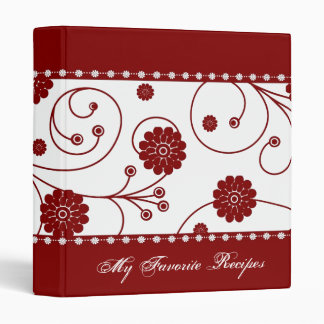 Crimson Bloom Banner Recipe Book 3 Ring Binder