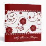 Crimson Bloom Banner Recipe Book Binder