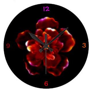 Crimson Bloom Wall Clock