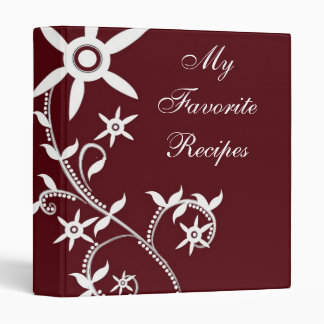 Crimson Bloom Vine Recipe Book Binder