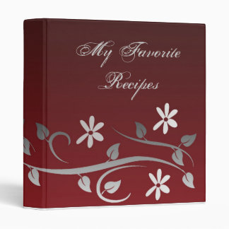 Crimson Blooms Recipe Book 3 Ring Binders