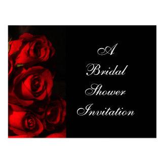 """Crimson Bouquet"" [a] - Bridal Shower Invitation Postcard"