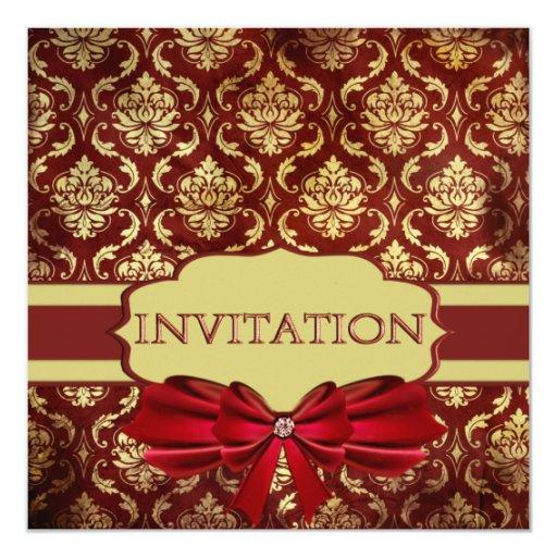 Crimson Brocade Party Invitations