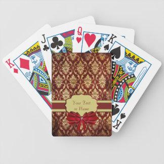 Crimson Brocade Personaliseable Playing Card