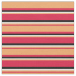 [ Thumbnail: Crimson, Brown, Beige & Black Colored Pattern Fabric ]