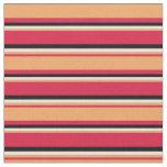 [ Thumbnail: Crimson, Brown, Beige & Black Colored Pattern Fabric ]