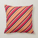 [ Thumbnail: Crimson, Brown, Beige & Black Colored Pattern Throw Pillow ]