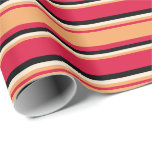 [ Thumbnail: Crimson, Brown, Beige & Black Colored Pattern Wrapping Paper ]