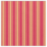 [ Thumbnail: Crimson & Brown Colored Striped Pattern Fabric ]