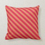 [ Thumbnail: Crimson & Brown Colored Striped Pattern Pillow ]