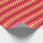 [ Thumbnail: Crimson & Brown Colored Striped Pattern Wrapping Paper ]