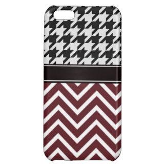 Crimson Chevron and Houndstooth iPhone 5C Cases