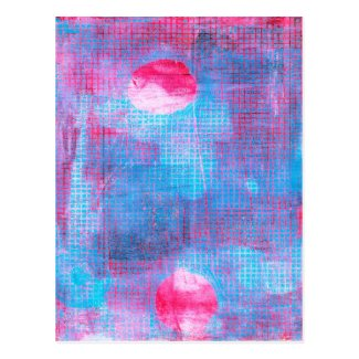 Crimson Clover Abstract Art Circles Grid Pink Blue Postcard