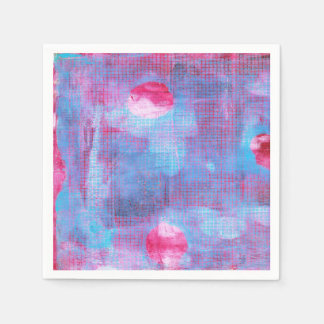 Crimson Clover Abstract Art Fuschia Pink Blue Napkin