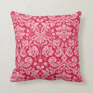 Crimson Damask Pattern Throw Pillow