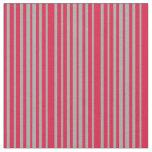 [ Thumbnail: Crimson & Dark Gray Colored Lined Pattern Fabric ]