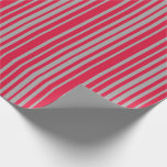 [ Thumbnail: Crimson & Dark Gray Colored Lined Pattern Wrapping Paper ]