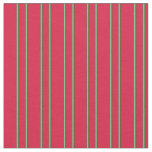[ Thumbnail: Crimson, Dark Grey, and Green Colored Stripes Fabric ]