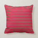 [ Thumbnail: Crimson, Dark Grey, and Green Colored Stripes Throw Pillow ]