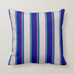 [ Thumbnail: Crimson, Dark Turquoise, Blue, Gray & Mint Cream Throw Pillow ]