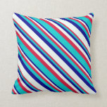 [ Thumbnail: Crimson, Dark Turquoise, Dark Blue, and Mint Cream Throw Pillow ]