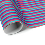 [ Thumbnail: Crimson, Dark Turquoise & Indigo Colored Pattern Wrapping Paper ]