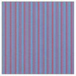 [ Thumbnail: Crimson & Deep Sky Blue Striped Pattern Fabric ]