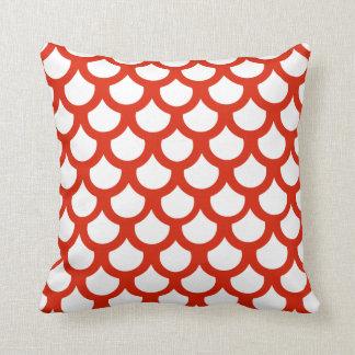 Crimson Fish Scale 1 Throw Pillow