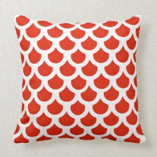 Crimson Fish Scale 2 Throw Pillow