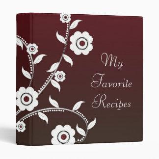 Crimson Floral Vine Recipe Book 3 Ring Binder