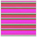 [ Thumbnail: Crimson, Fuchsia, Lavender, and Dark Green Lines Fabric ]