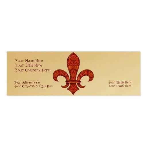 Crimson Garden Fleur de lis Mini Business Card