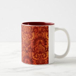 Crimson Garden Fleur de lis Two-Tone Coffee Mug