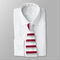 Crimson Gray and White Horizontally-Striped Tie