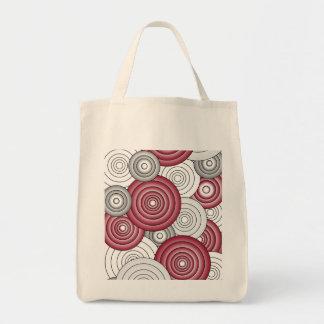 Crimson & Gray Circles Grocery Bag