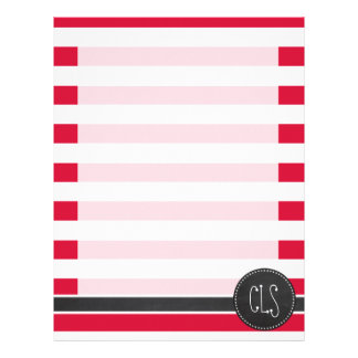 Crimson Horizontal Stripes; Striped Letterhead